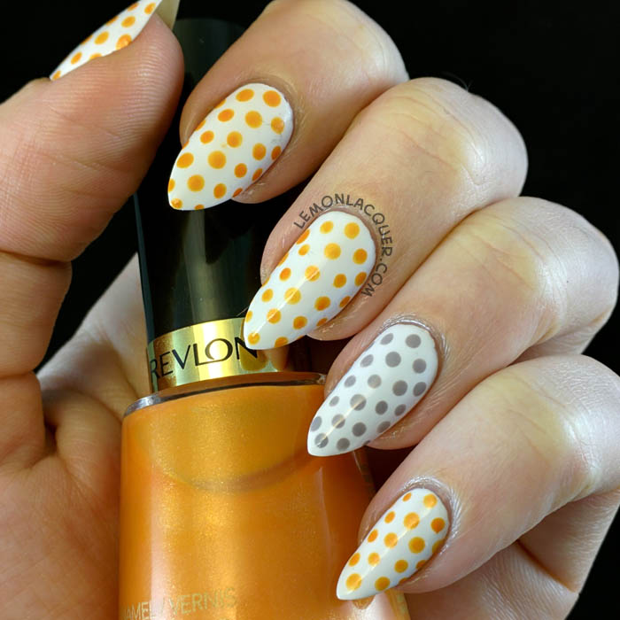 Simple Halloween Dotticure in orange, grey, and white
