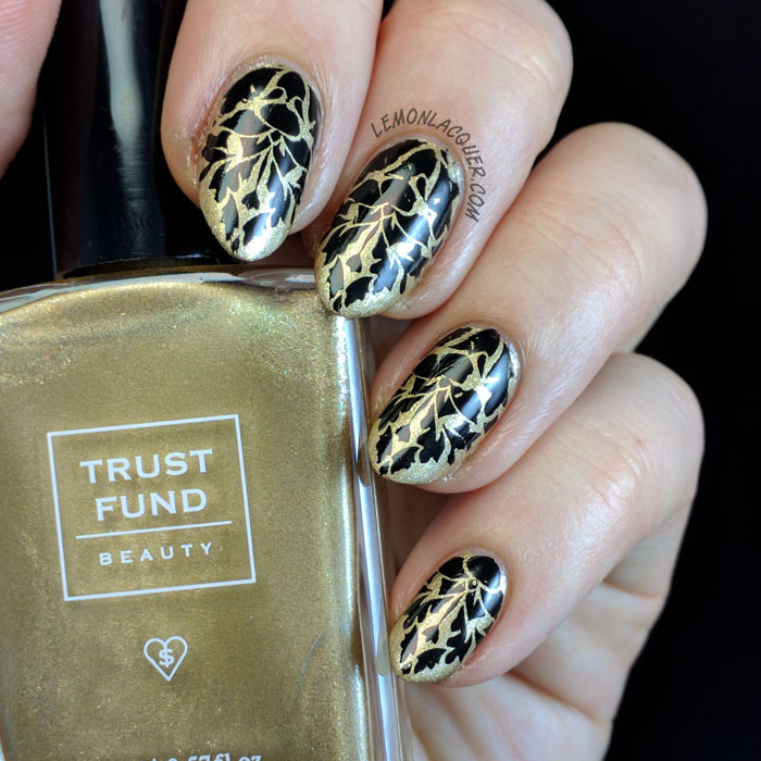 Gold and black damask nail art