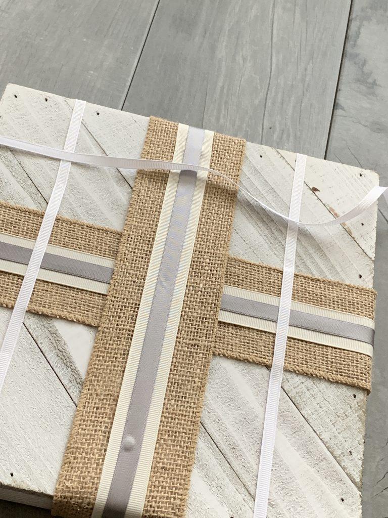 ribbon on wooden board