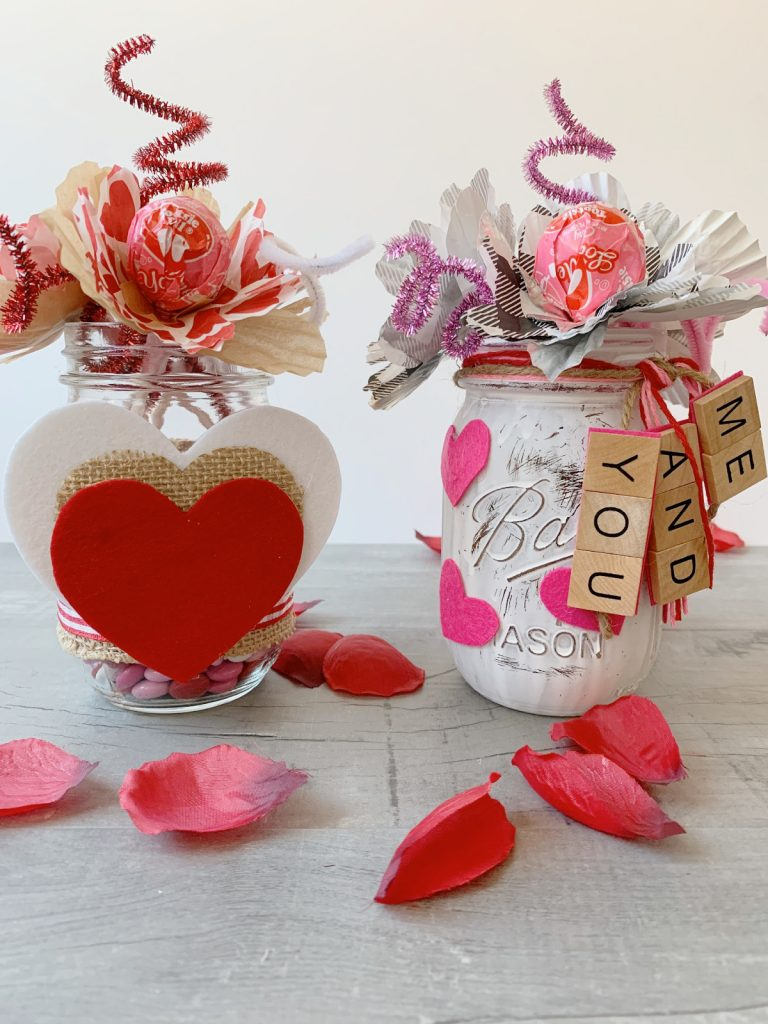 diy valentine's candy bouquet with candy flowers and mason jar