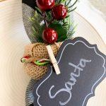 Close up of Christmas Napkin ring with Santa Sign
