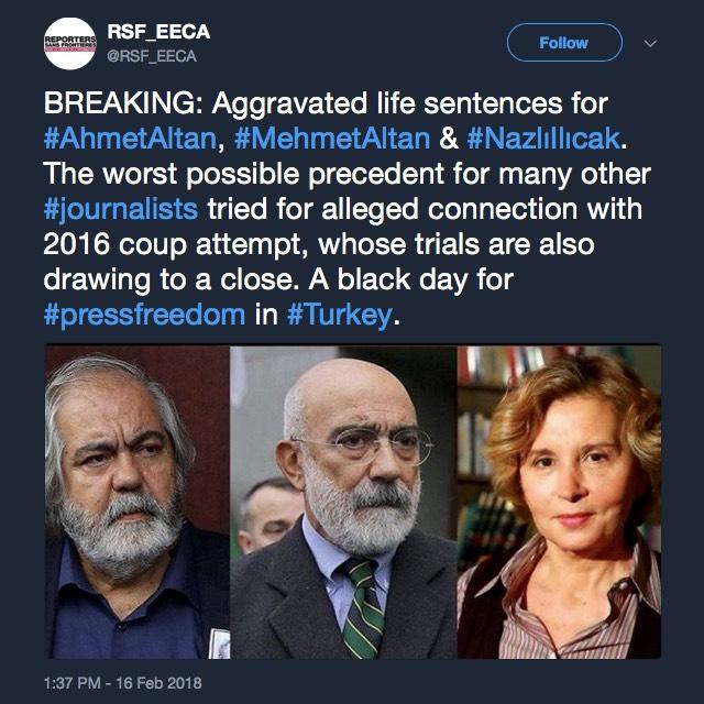 Drei Journalisten werden in der Türkei zu lebenslangen Haftstrafen verurteilt.