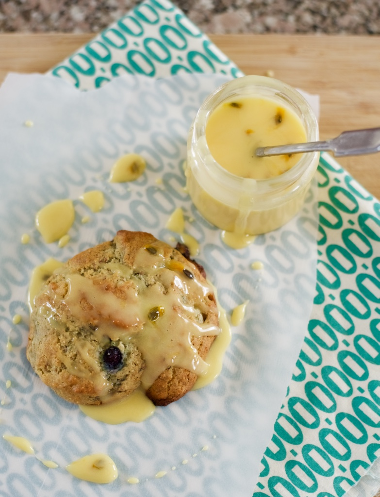Blueberry Scones with Passion Fruit Glaze