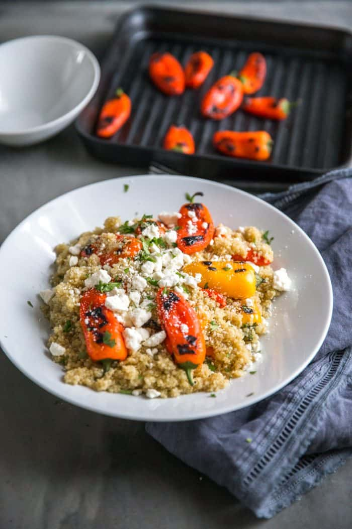 roasted peppers and quinoa