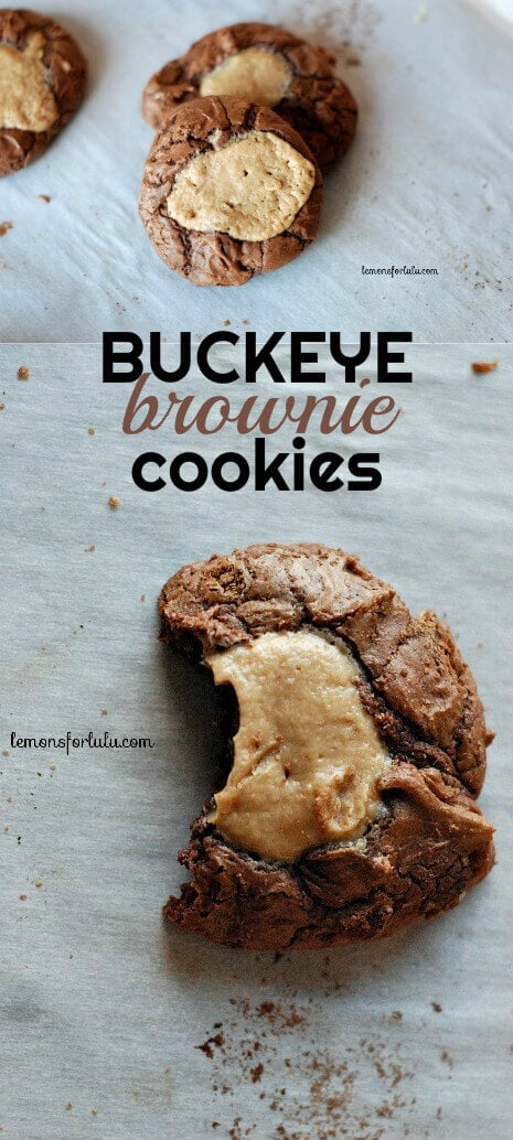These buckeye brownie cookies are soft, cake-like cookies that are filled with a creamy dollop of peanut butter. They are easy buckeye treats!