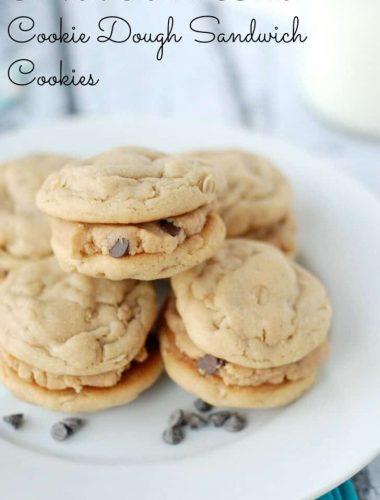 Oatmeal Peanut Butter Cookies filled with eggless chocolate chip peanut butter cookie dough filling www.lemonsforlulu.com