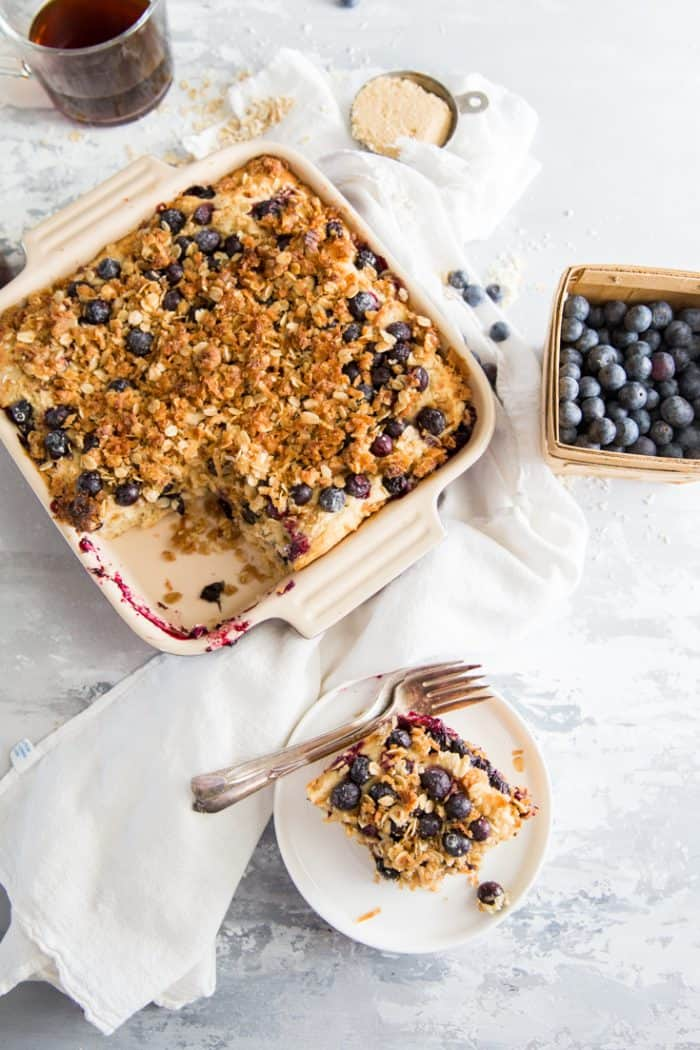 Blueberry coffee cake piece on the side