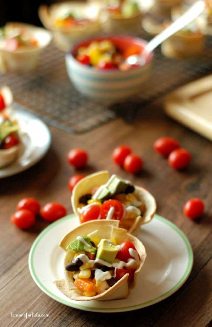 Mini veggie tacos in a perfect tortilla cup! www.lemonsforlulu.com
