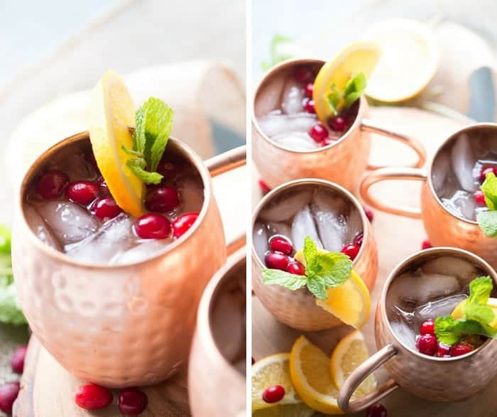 A cranberry Moscow mule drink recipe that is essential for the holidays! lemonsforlulu.com
