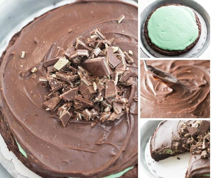 This easy chocolate mint cake recipe starts with a flourless base that is topped with a creamy mint glaze and lots of mint chocolate ganache!