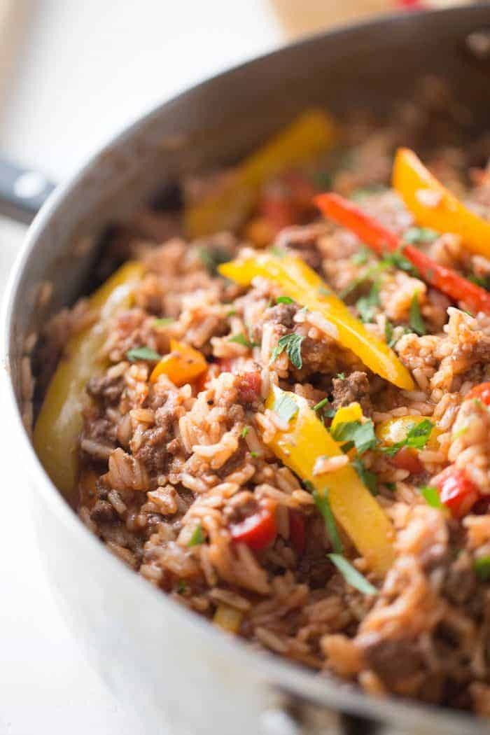 Unstuffed peppers combine beef, rice, tomatoes and peppers just like the original recipe. The best part about unstuffed peppers is how easy this is to make; all you need is one pot and a handful of ingredients!