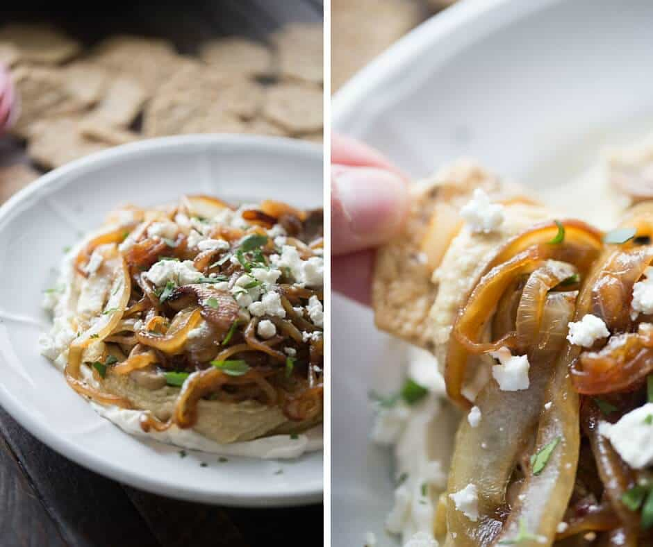 Hummus and caramelized onion dip starts with cream cheese, seasoned hummus, spiced mushrooms and sweet caramelized onions!