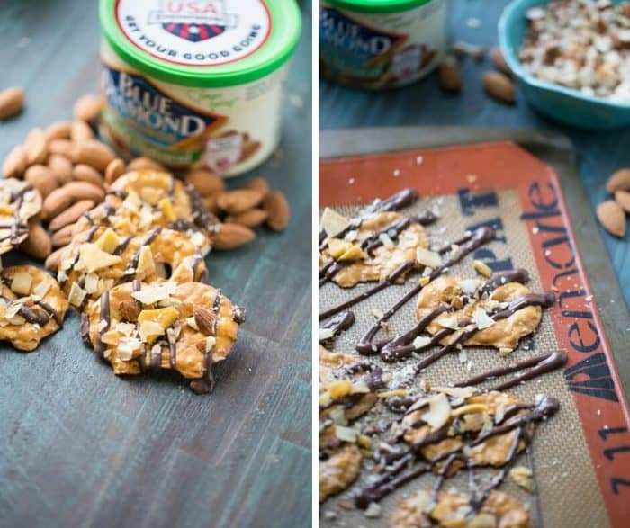 Chocolate covered pretzel start with dark chocolate that is topped with sweet, dried mangos, toasted caramel and whole almonds. This salty sweet snack will satisfy every craving!