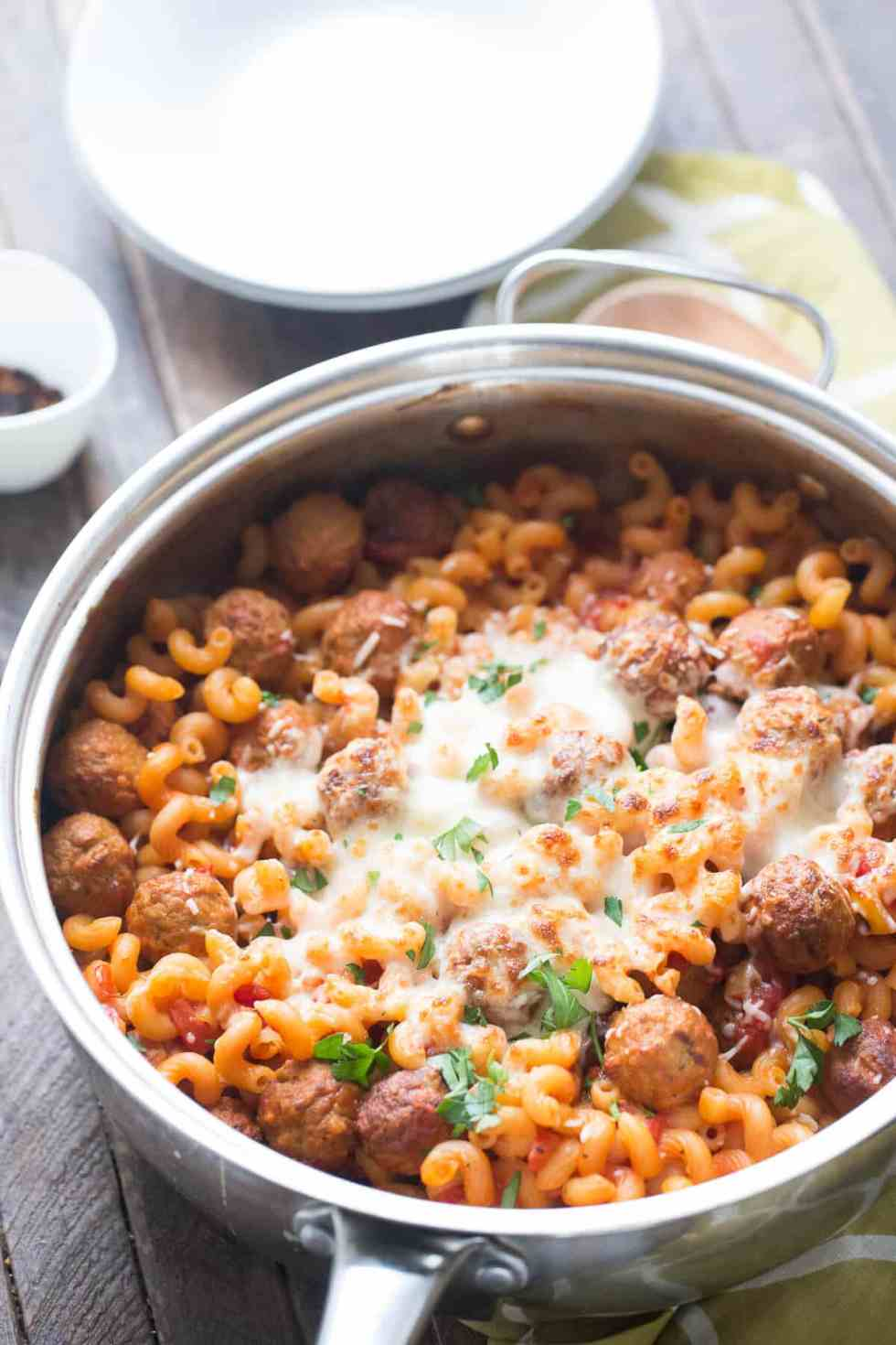 Skillet Meatball Lasagna {Lemons for Lulu}