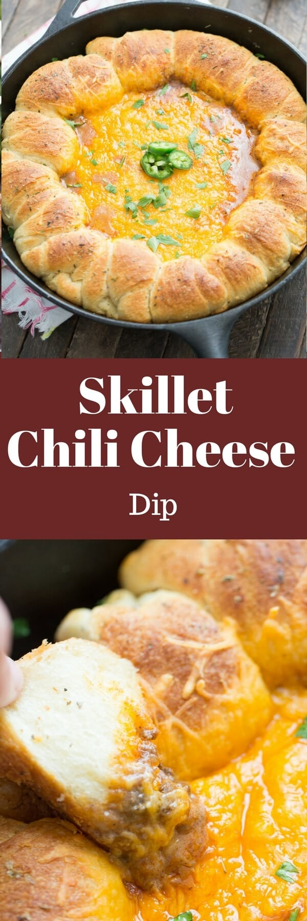 This chili cheese dip is going to go quickly! The buttery rolls make this cheesy dip easy to scoop and eat!