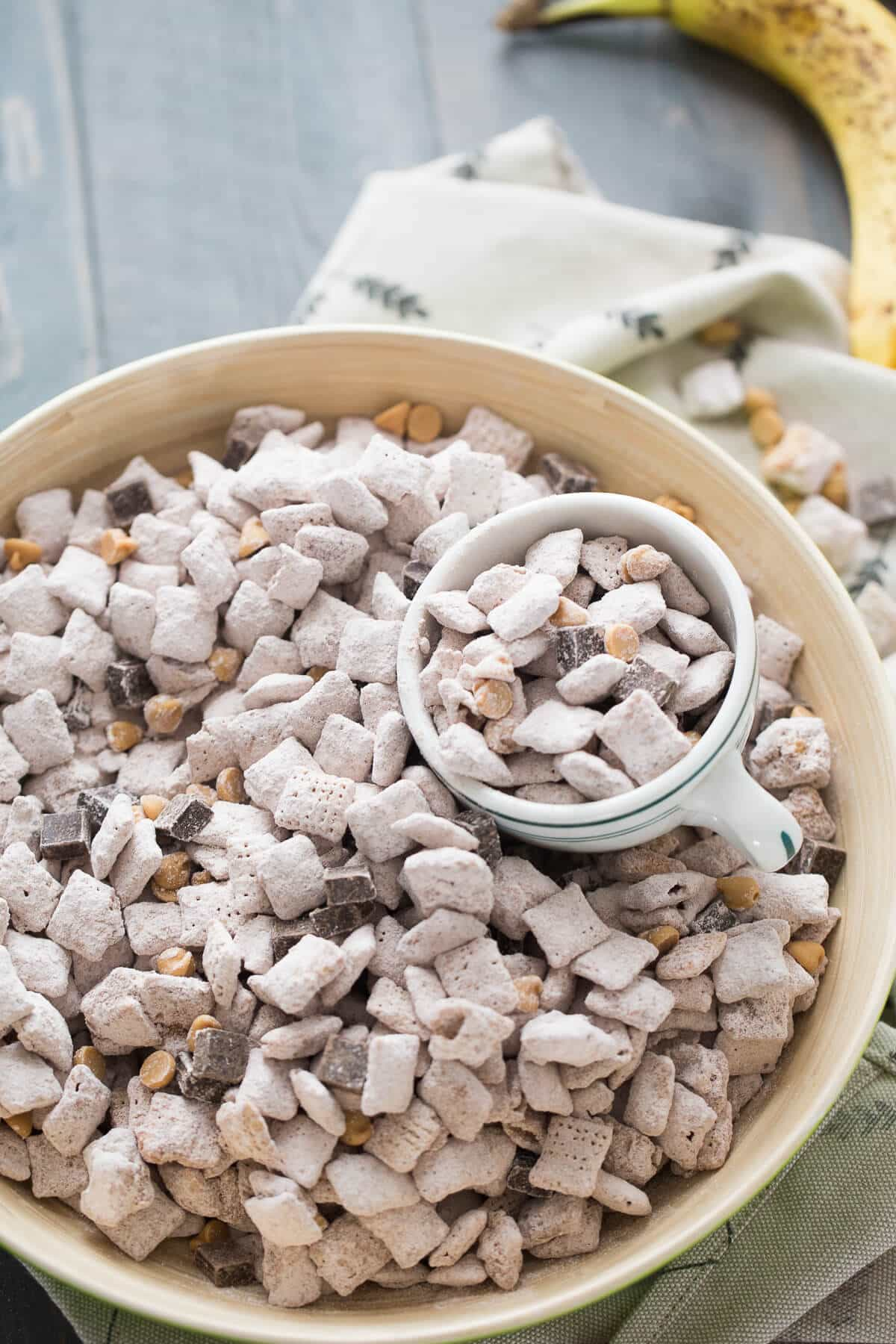 This chunky monkey flavored snack mix is absolutely addicting! I would be sure to make a double batch!