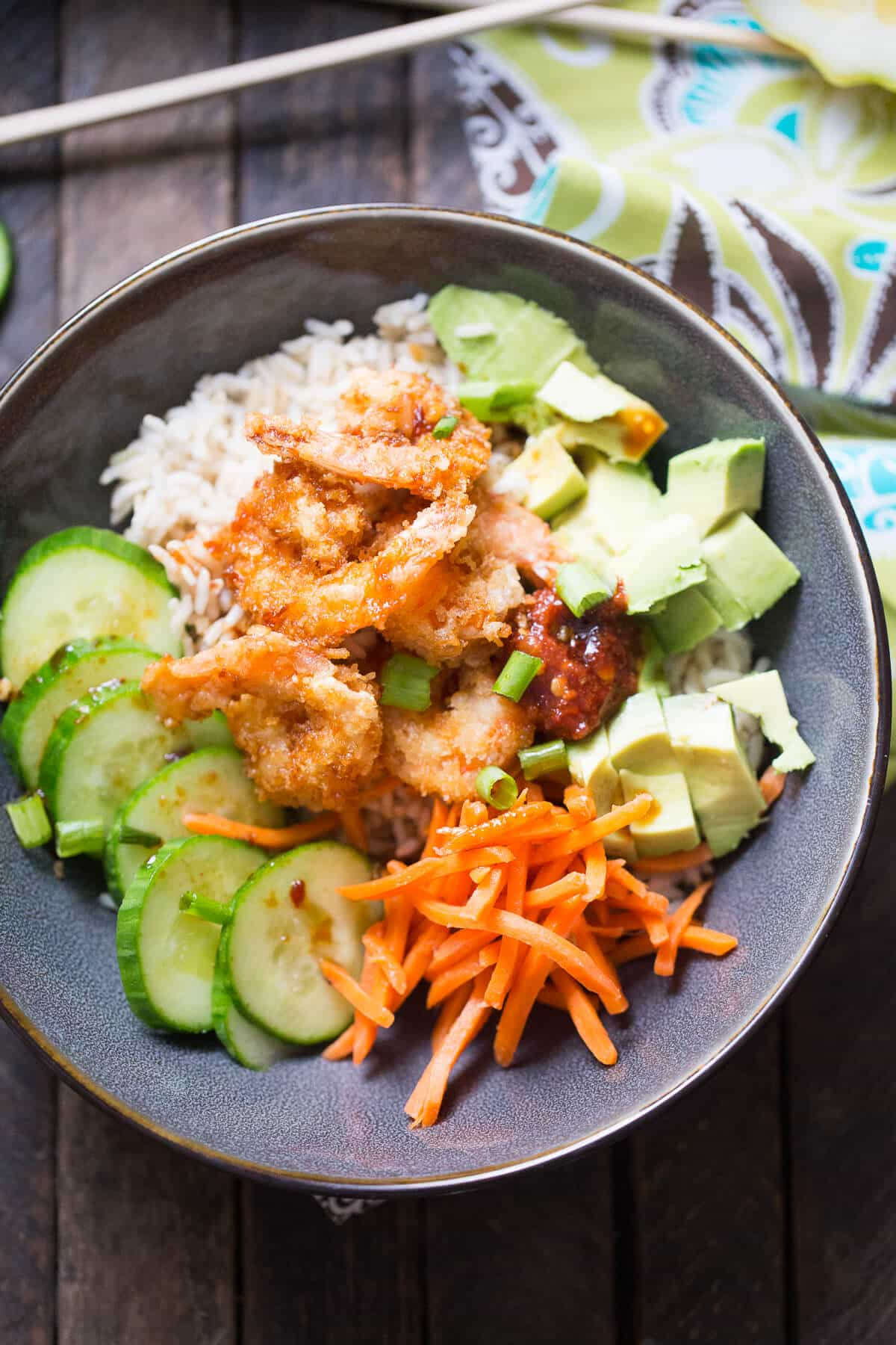 Breaded shrimp give texture and crunch to this simple sushi bowl!