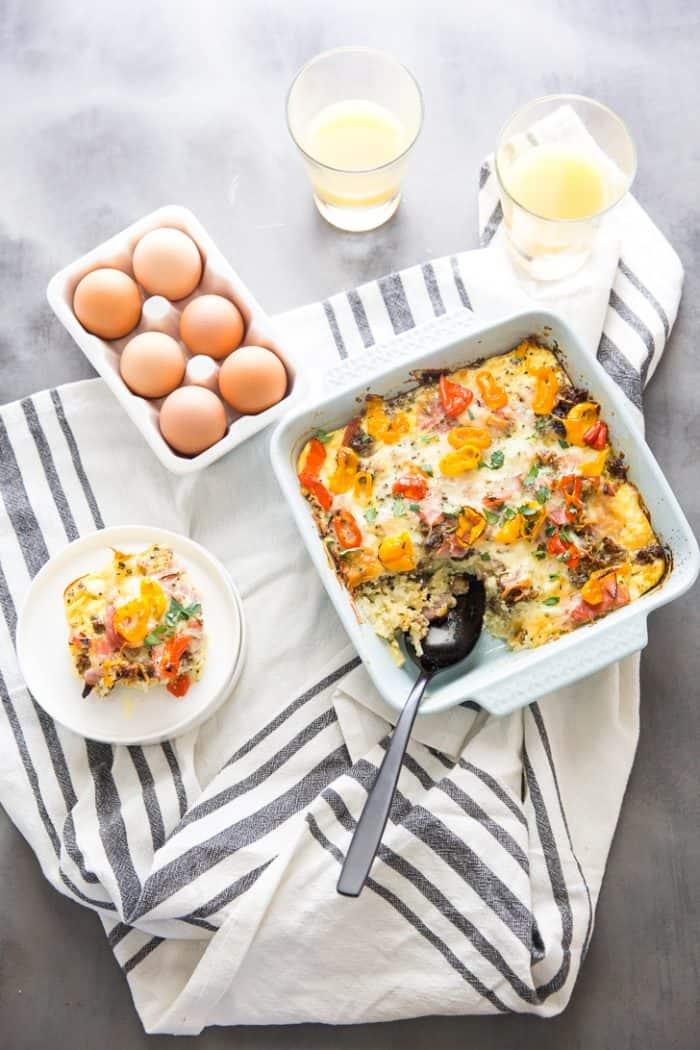Farmers breakfast casserole with slice on the side