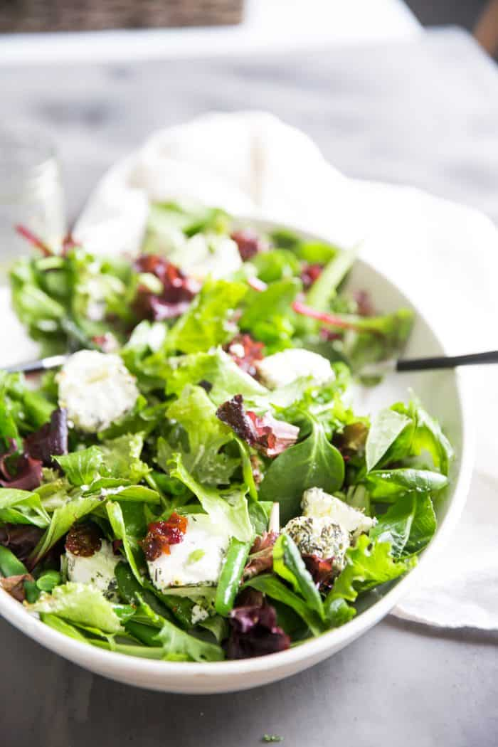 Spring Salad recipe side with tongs