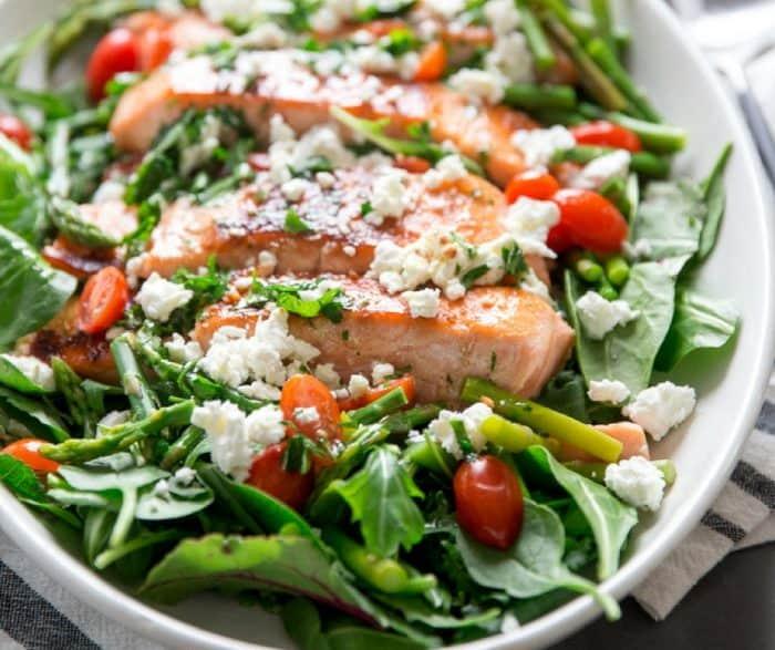 Bourbon glazed salmon salad side