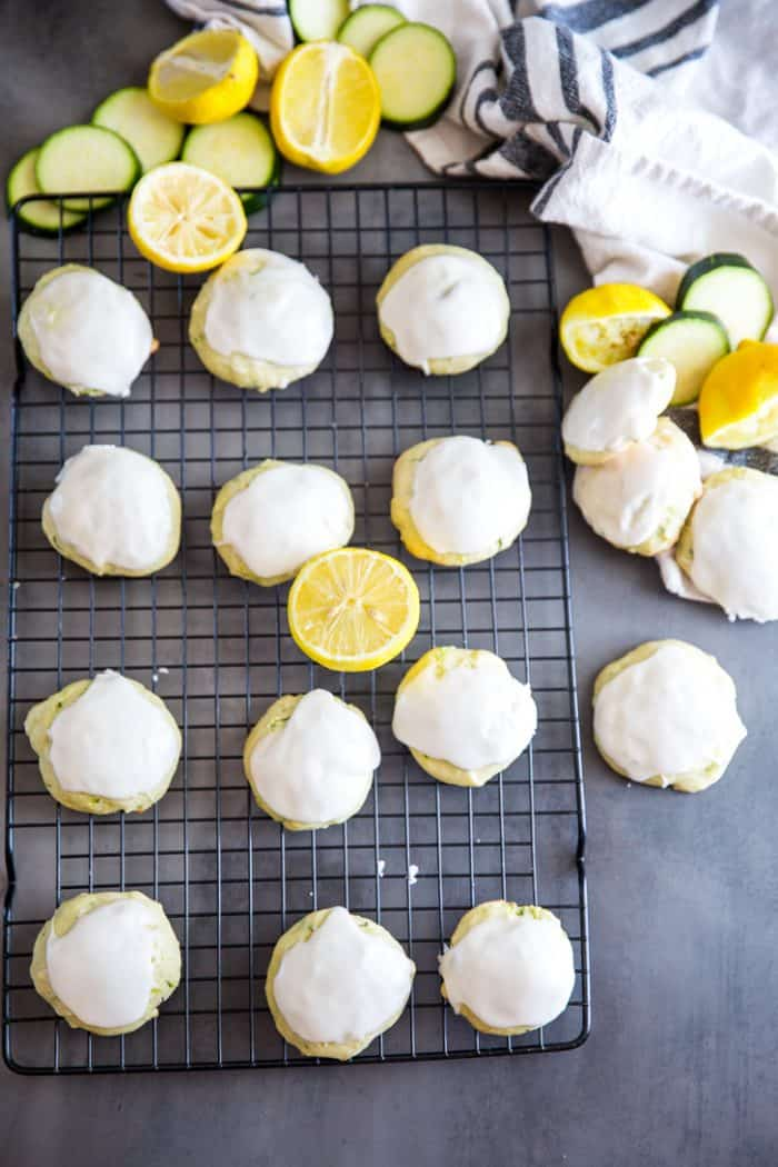 zucchini cookies baking rack lemons on side