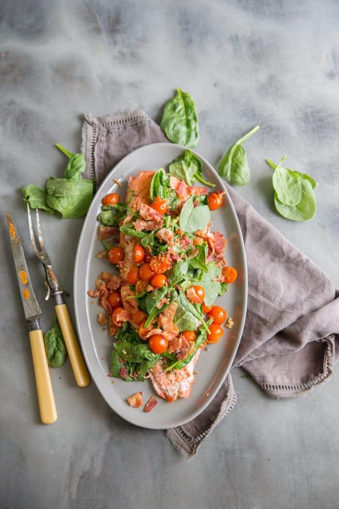 salmon dinner on gray plate