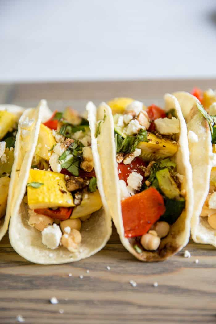 two roasted veggie tacos