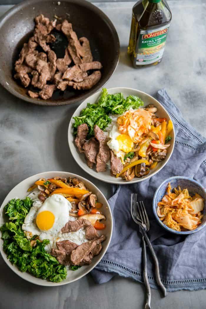 bibimbap beef and kimchi