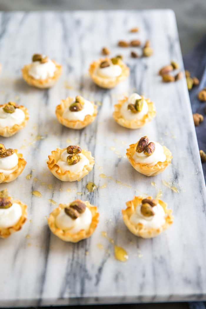 whipped goat cheese in filo cups