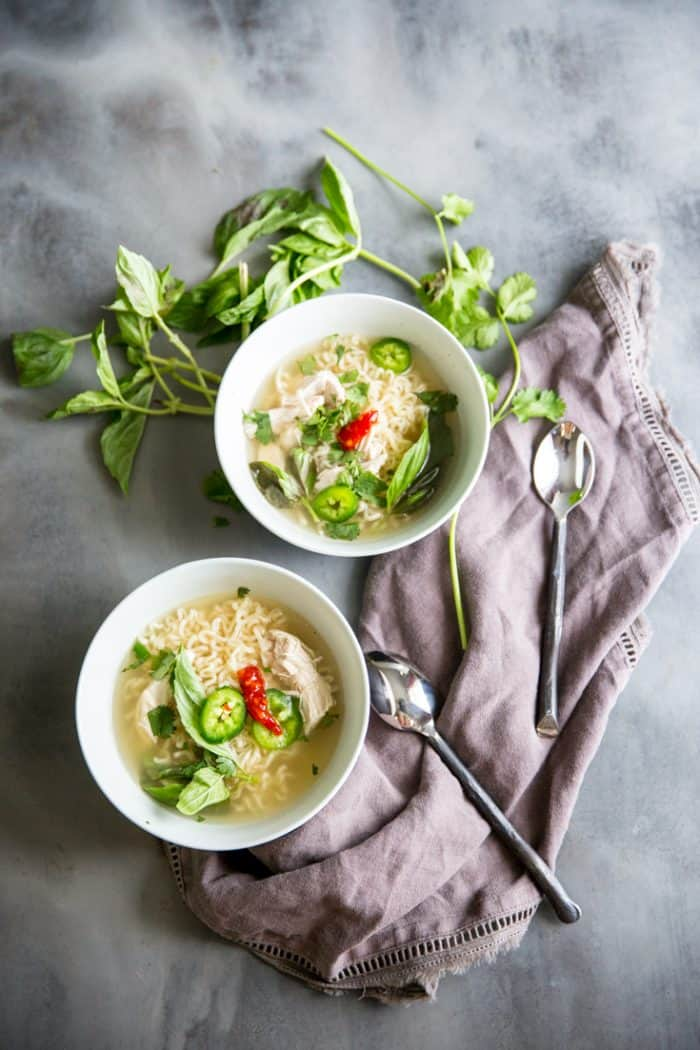 chicken pho two bowls