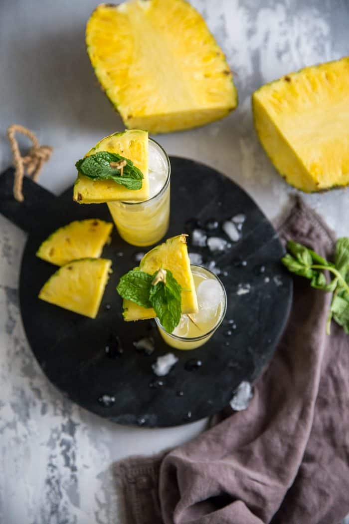 vodka cocktail with pineapple and mint
