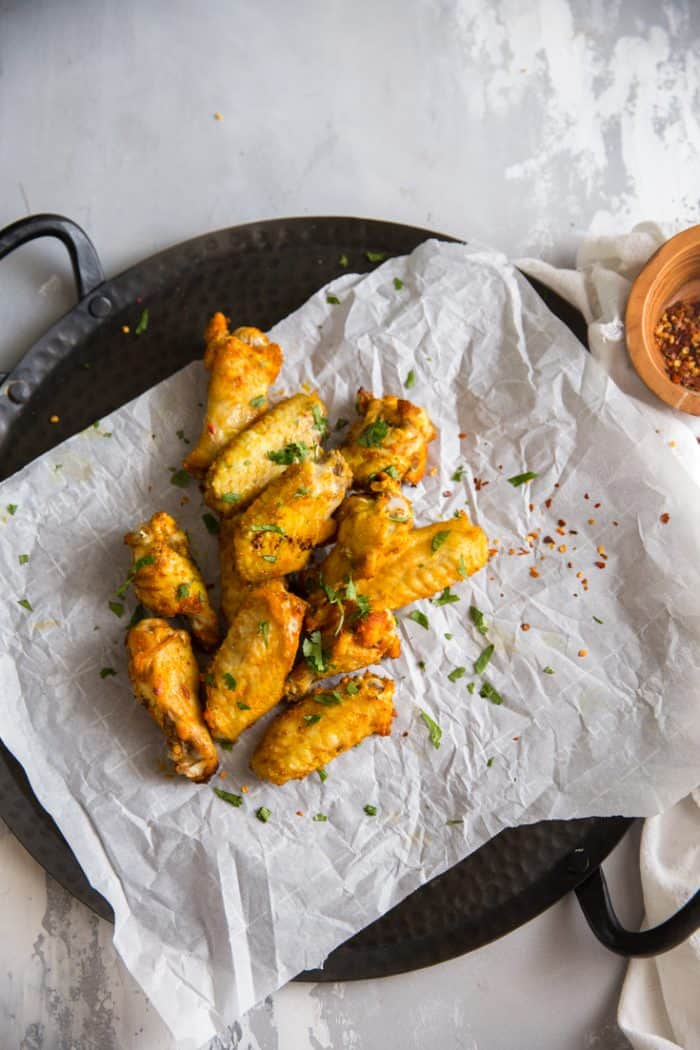 Thai spice wings on a tray