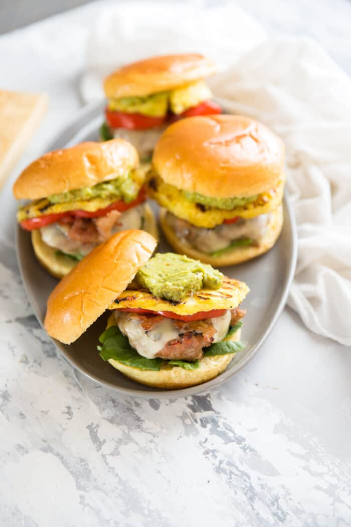 Turkey burger with guacamole