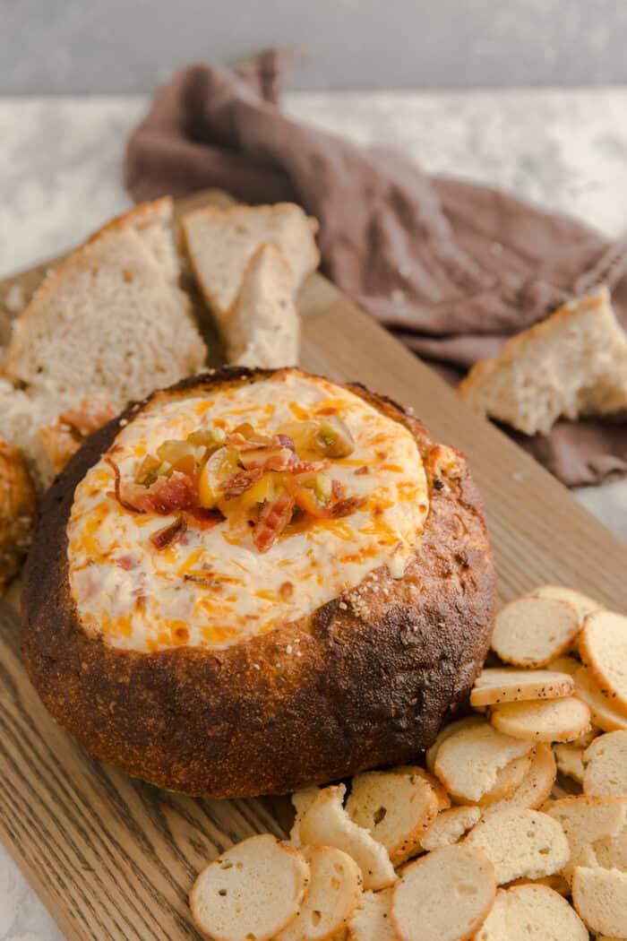 Hot Brown bread bowl dip