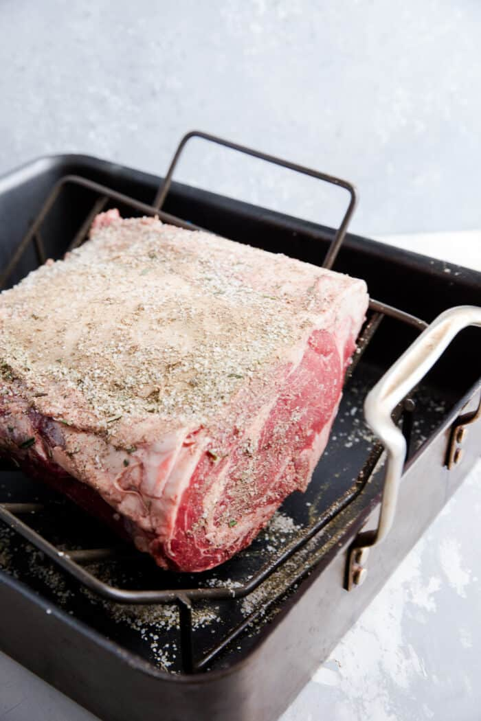 raw beef in a roasting pan