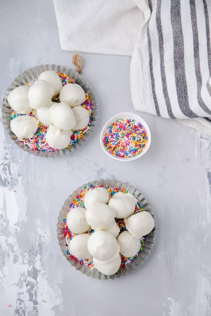 two bowls of Funfetti edible cookie dough truffles