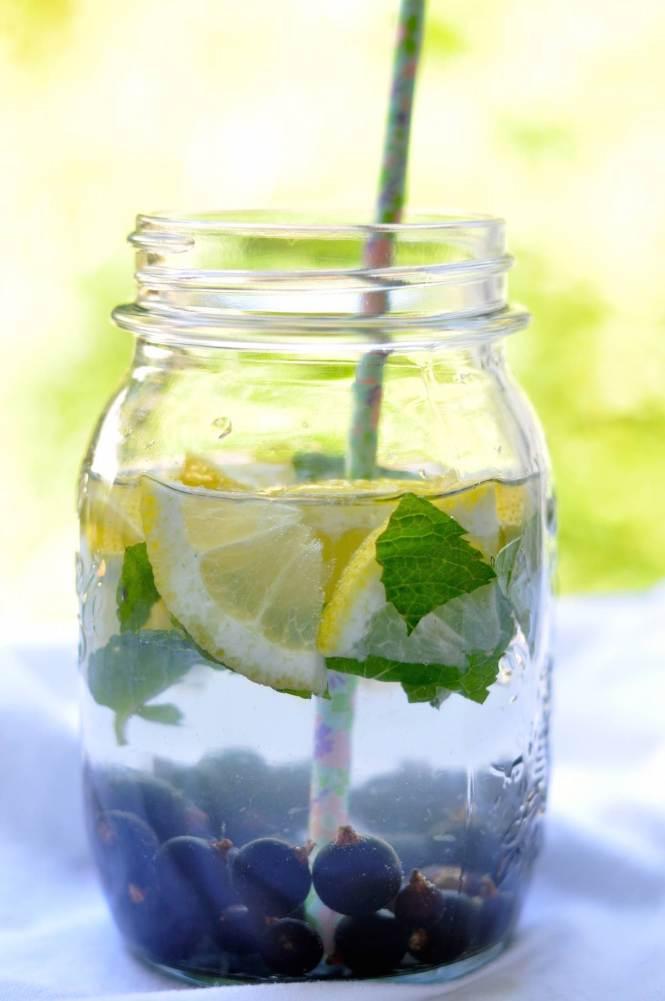 fruit infused water zitrone-blaubeeren-minze