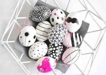 DIY Ostereier bemalen schwarz-weiß