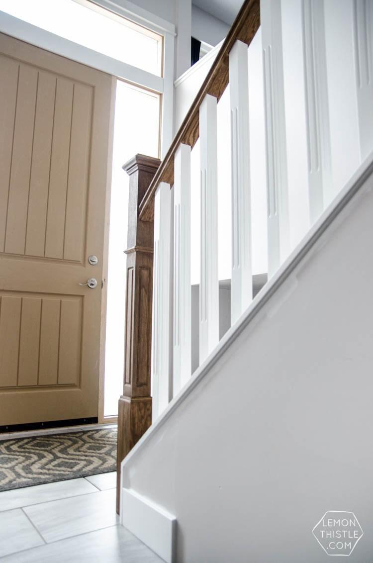 How To Install A Wooden Handrail On Split Level Stairs Lemon Thistle | Split Level Stair Railing | Wrought Iron | Julia | Modern | Easy Diy | Fancy