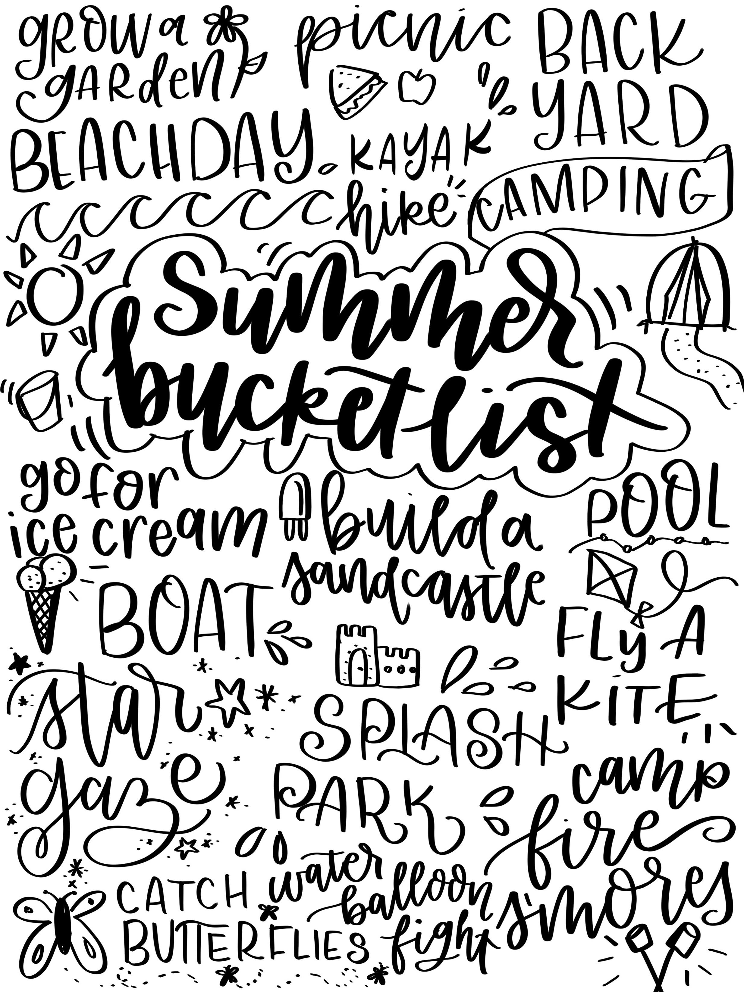 Hand Lettered Summer Bucket List Printable