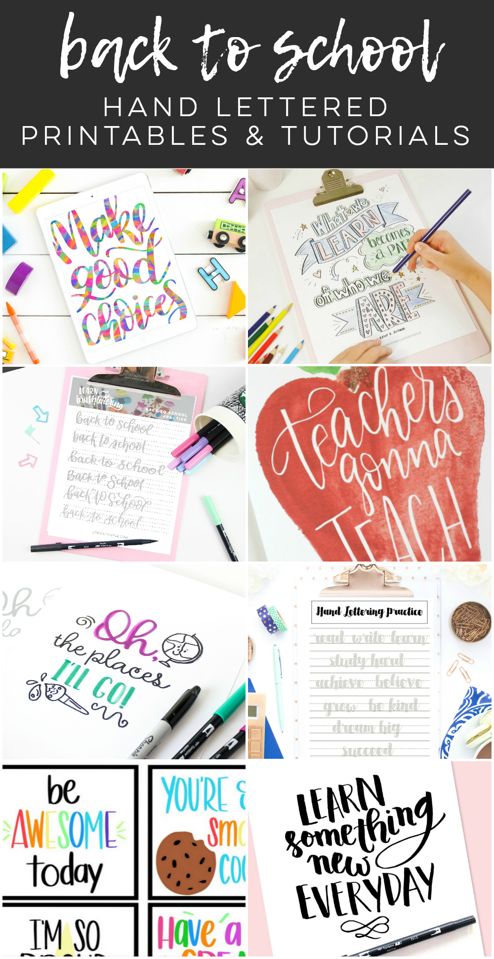 back to school hand lettered printables and tutorials
