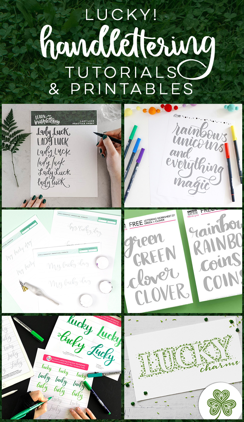 Lucky me! Free printable hand lettering practice sheets and tutorials