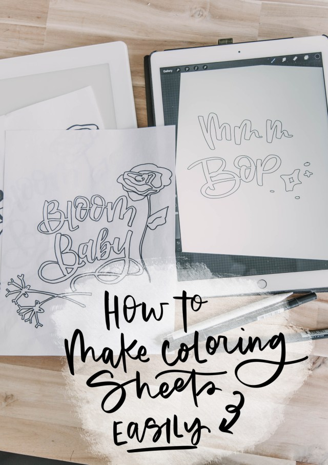 How to make your own coloring sheets (from hand lettering) - Lemon