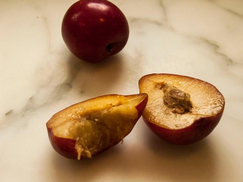 Ripe lemon plums ready for eating.