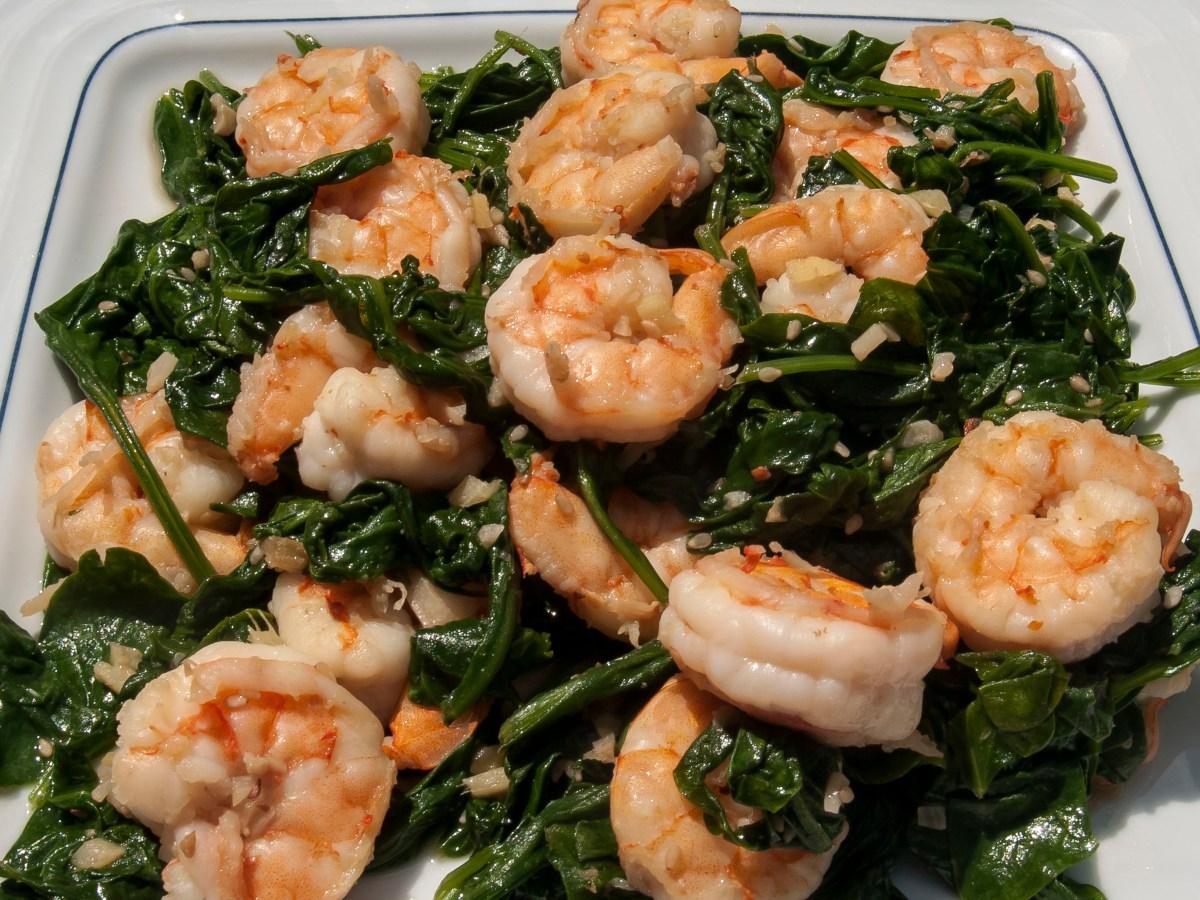 Sautéed Sesame Shrimp and Spinach