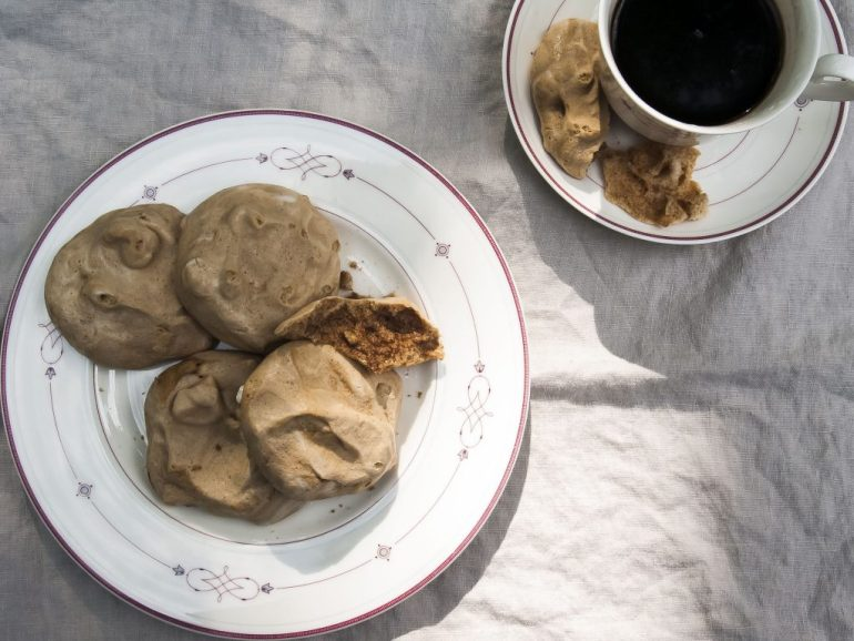 Coffee meringue cloud cookies made from aquafaba.
