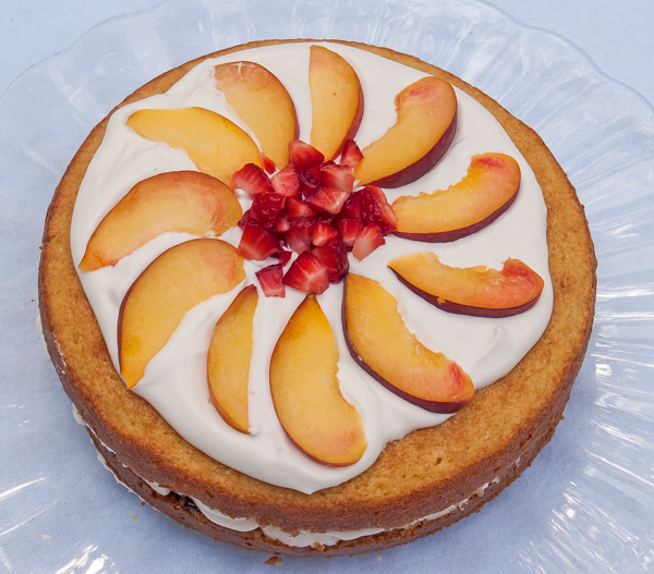 Nifty Cake: Buttermilk Cake with Strawberries, Peaches and Whipped Cream