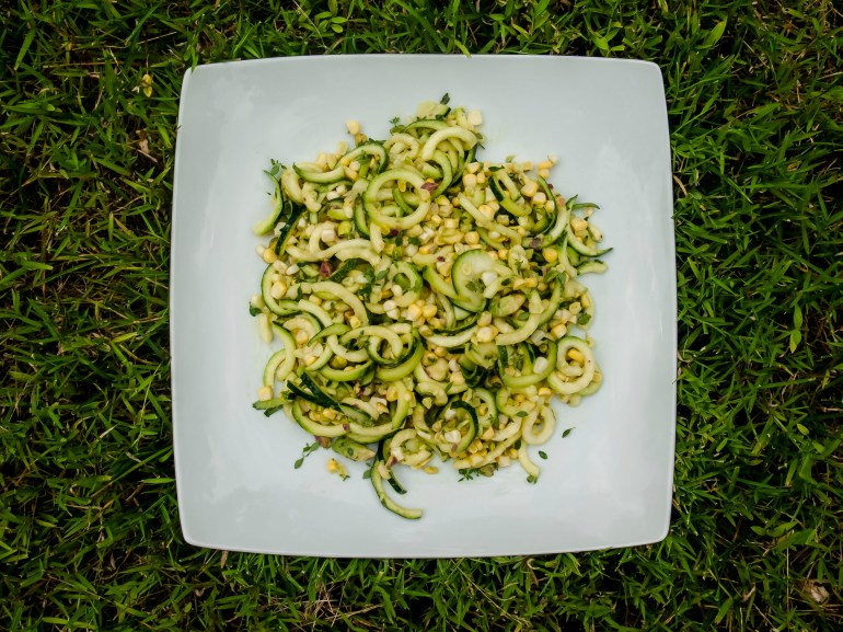 Fresh Zucchini and Corn Salad with Avocado and Pistachio