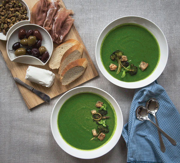 Broccoli Soup with Spinach and Mint, recipe.