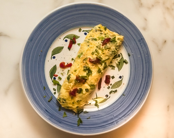 Fresh Herb Omelet with Goat Cheese